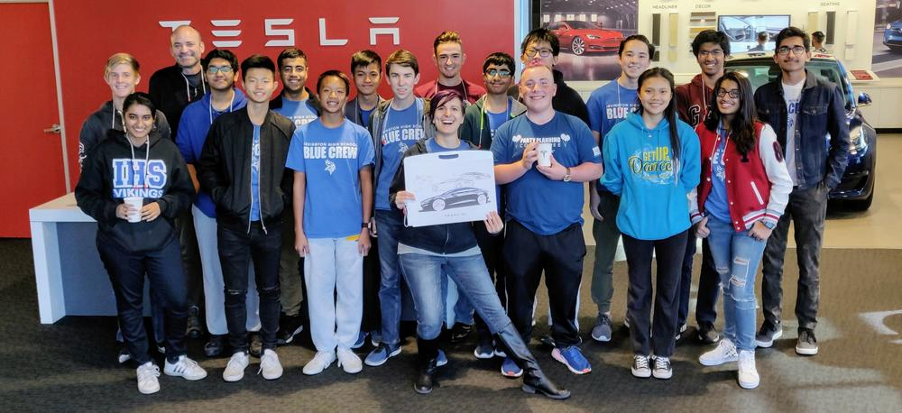 Irvington students touring the TESLA plant in Fremont for National Manufacturing Day.