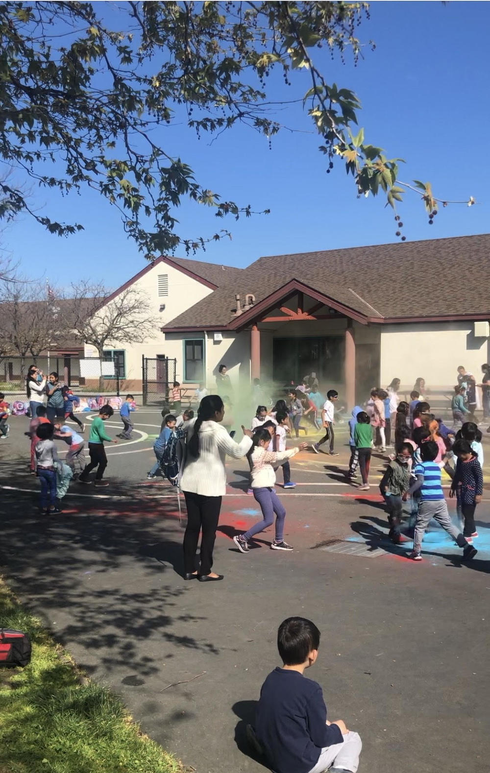 FOrest Park kindergartners celebrate Holi.