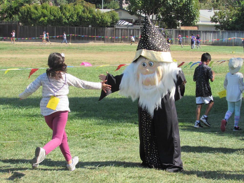 The  Wizard  greets Warwick students during  Wizard Walk  September 26th.
