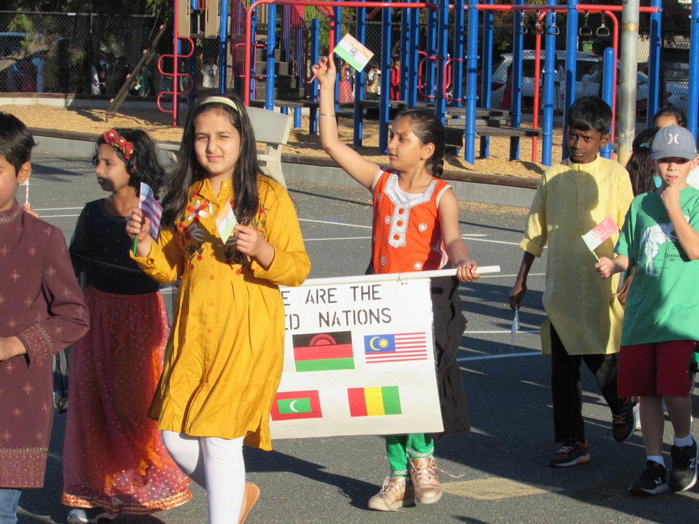 Forest Park students march in UN Day Parade.
