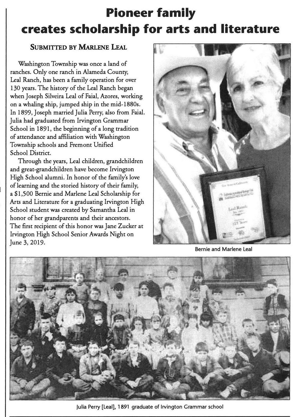 Tri-City Voice article about Marlene Leal Scholarship.