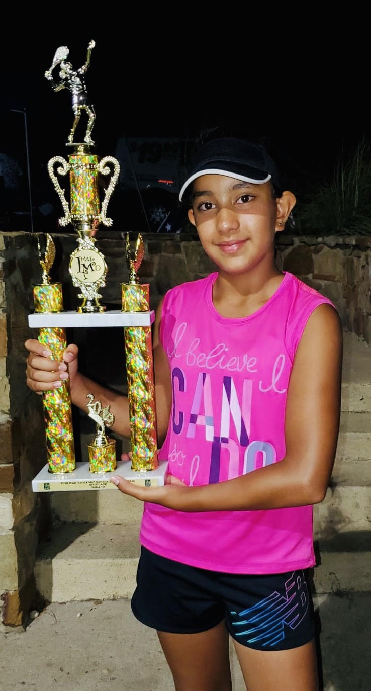 Forest Park 5th-grader Akanksha with her trophy.