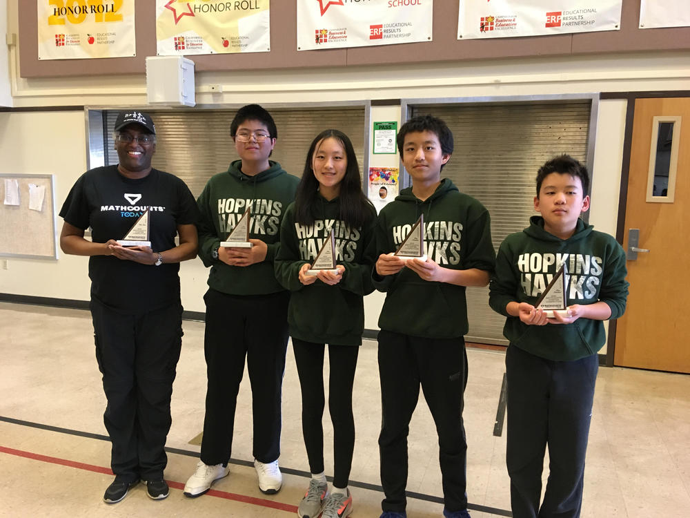 Hopkins MathCounts Team with their 1st-place trophies.