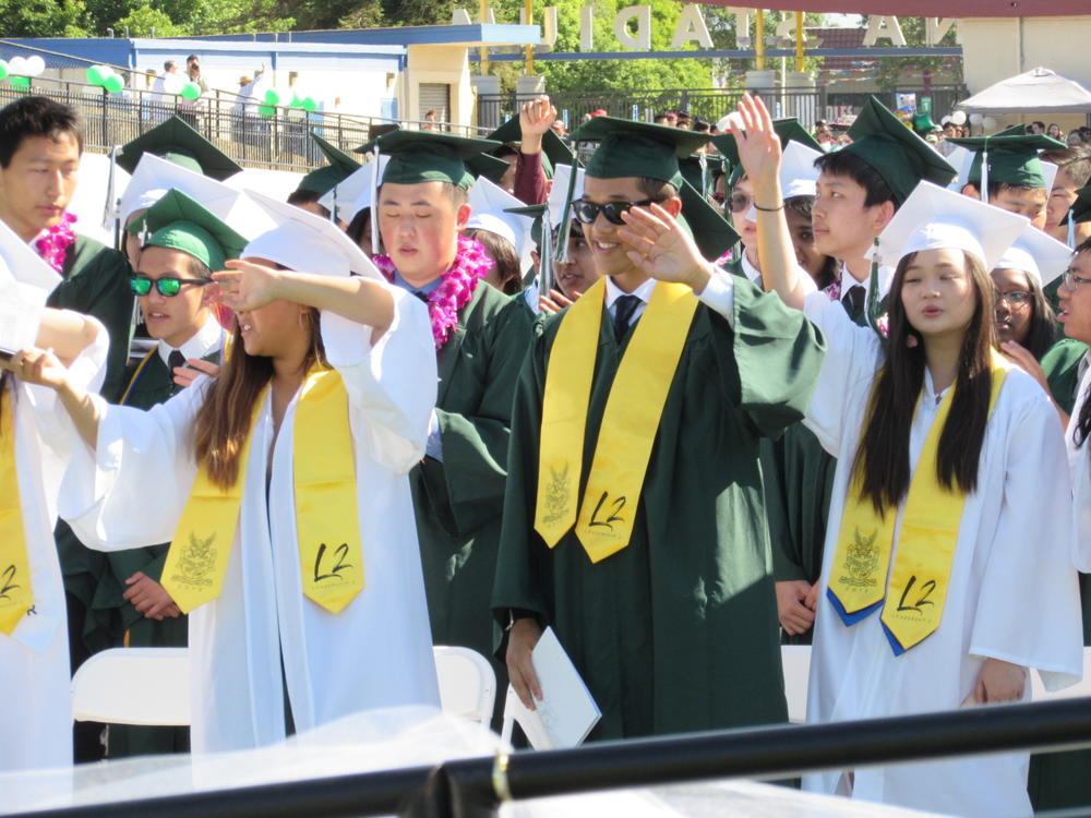 Mission San Jose seniors enjoy themselves during Graduation Ceremony June 13th.