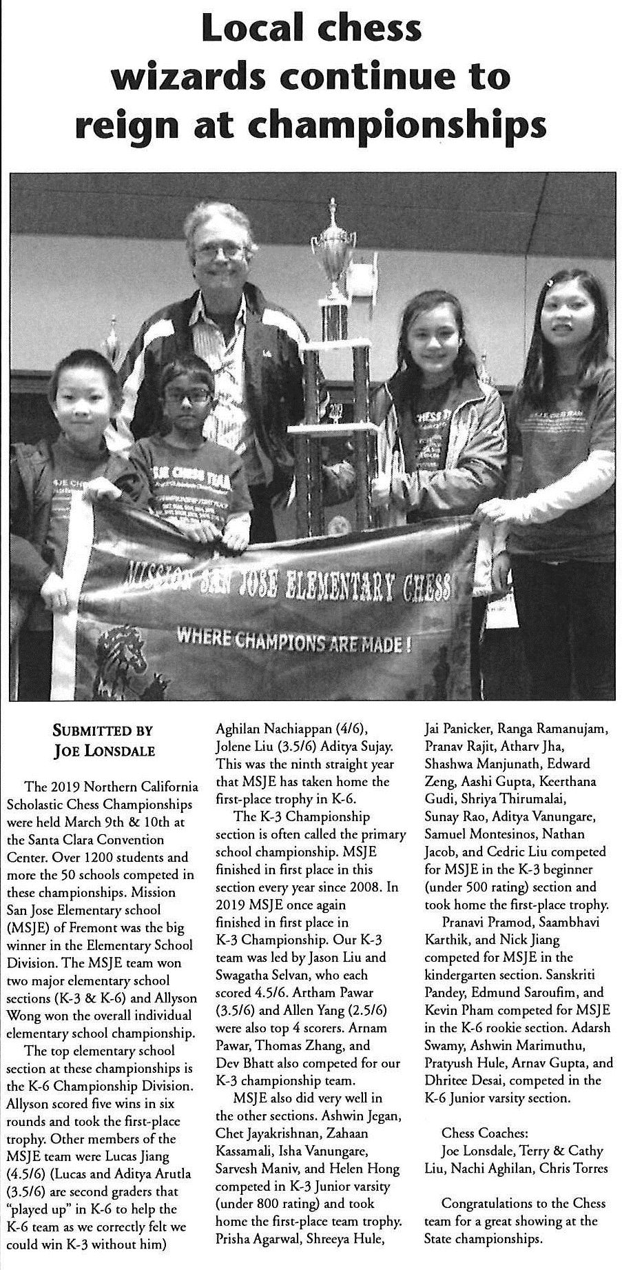 Tri-City Voice article about MSJES Chess Team.