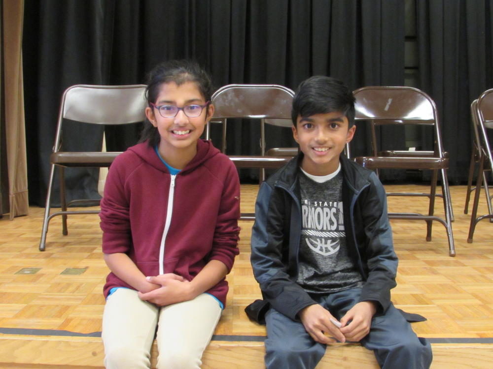 Mission San Jose Spelling Bee winners Anoushka and Vardaan.