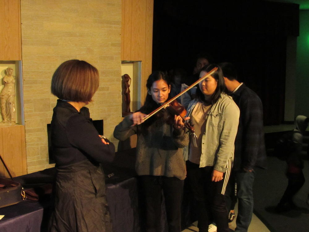 An American High School student plays a historic  Violin of Hope.
