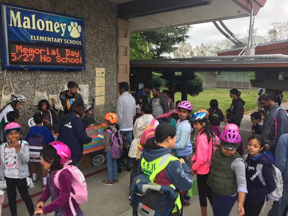 Maloney students gather for Bike to School Day.