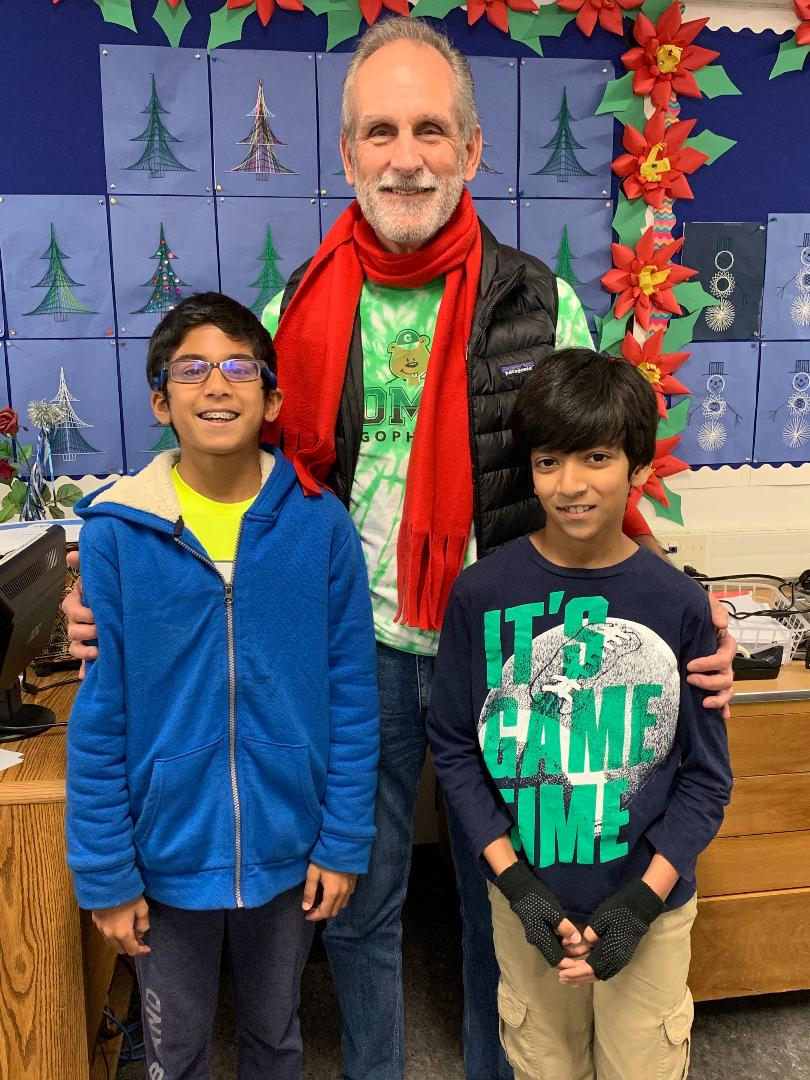 Gomes Spelling Bee winners Ansh and Sankalp along with Principal Whipple.