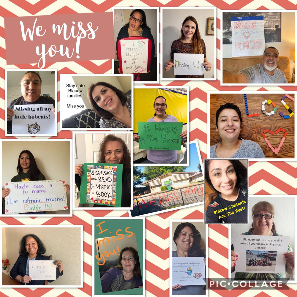 Blacow Elementary teachers and staff with a few messages for their students...