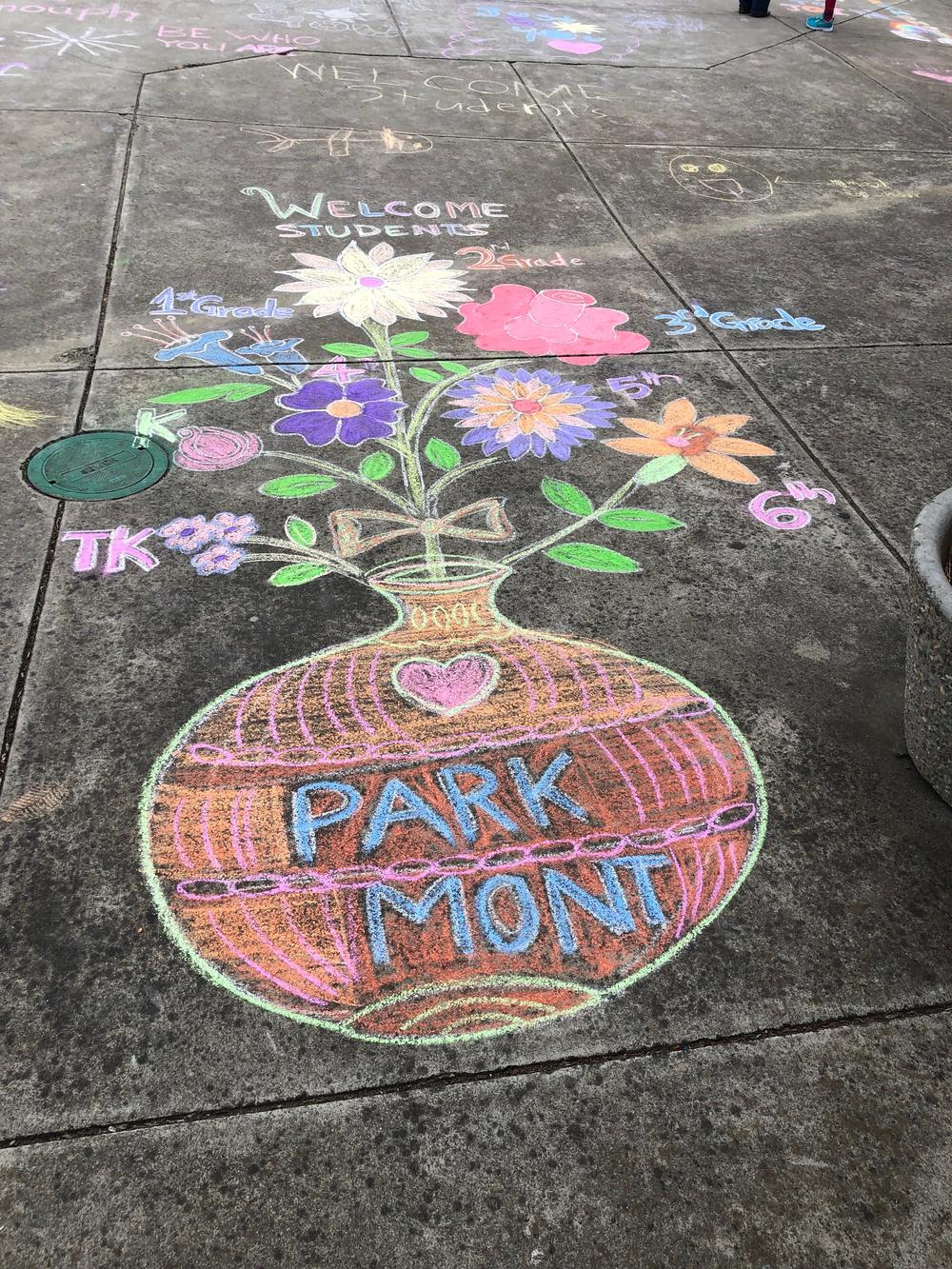 Chalk art at Parkmont Elementary.