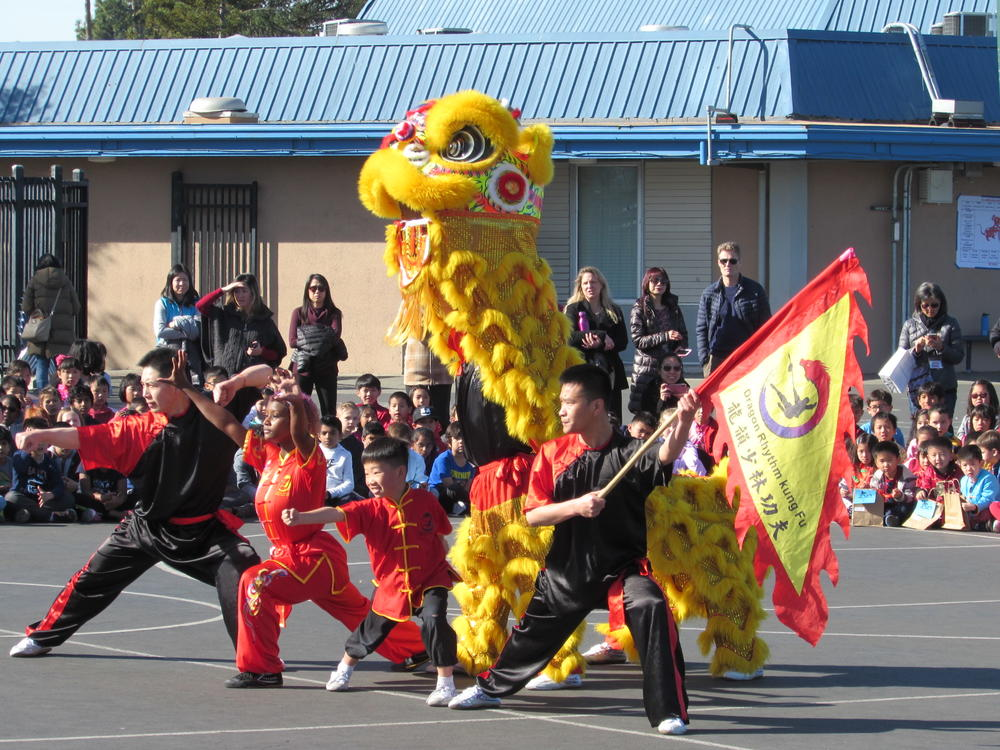 Dragon Rhythm Shaolin Kung Fu perform at Azevada Elementary.