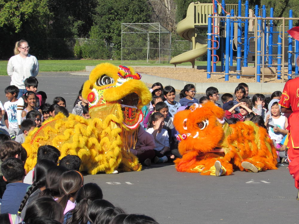 Pair of Lions make an appearance at Chadbourne Elementary School s Lunar New Year assembly.