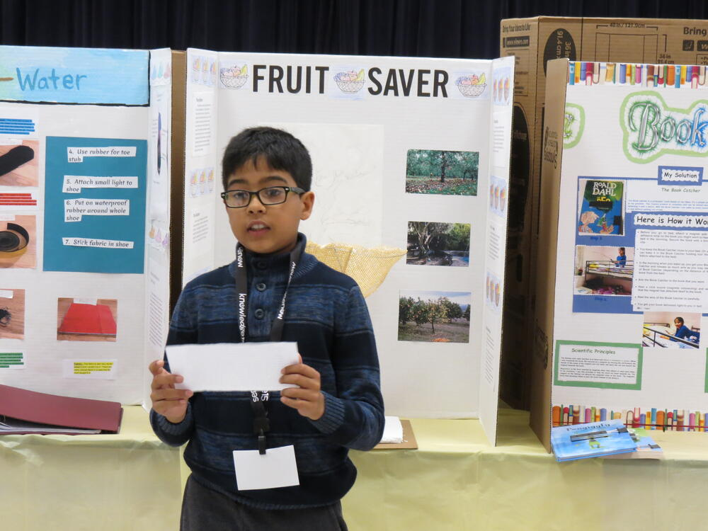 A Chadbourne Elementary student presents his invention.