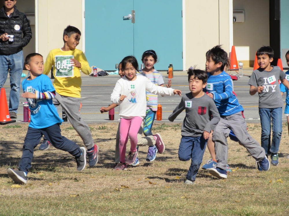 Brookvale Elementary students start the annual Bronco Gallop November 1st.