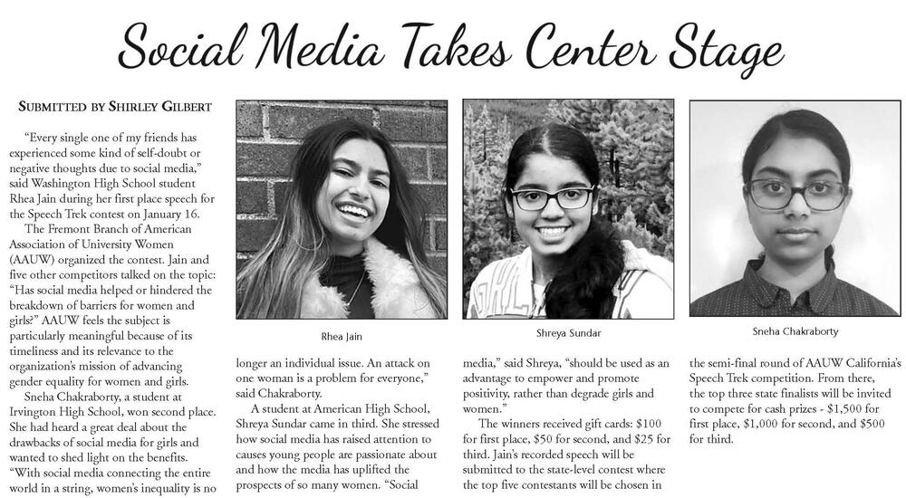 Tri-City Voice article about FUSD students winning at speech competition.