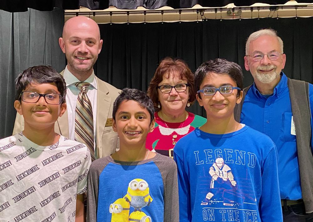 Ardenwood Elementary s top 3 spellers pose following school s 2019 Spelling Bee.
