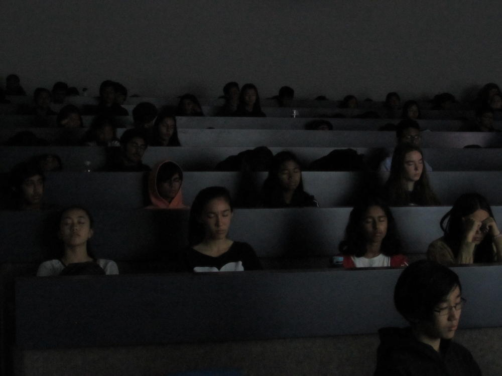 Irvington students practice relaxation and meditation techniques.
