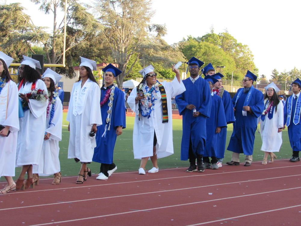 Irvington seniors wave to the crowd during Graduation Ceremony June 13th.