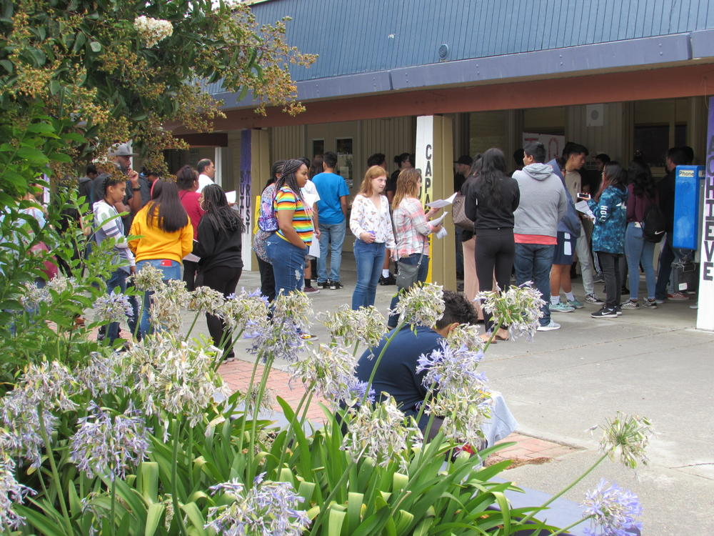 Kennedy High School students line up during MAZE Day August 20th.