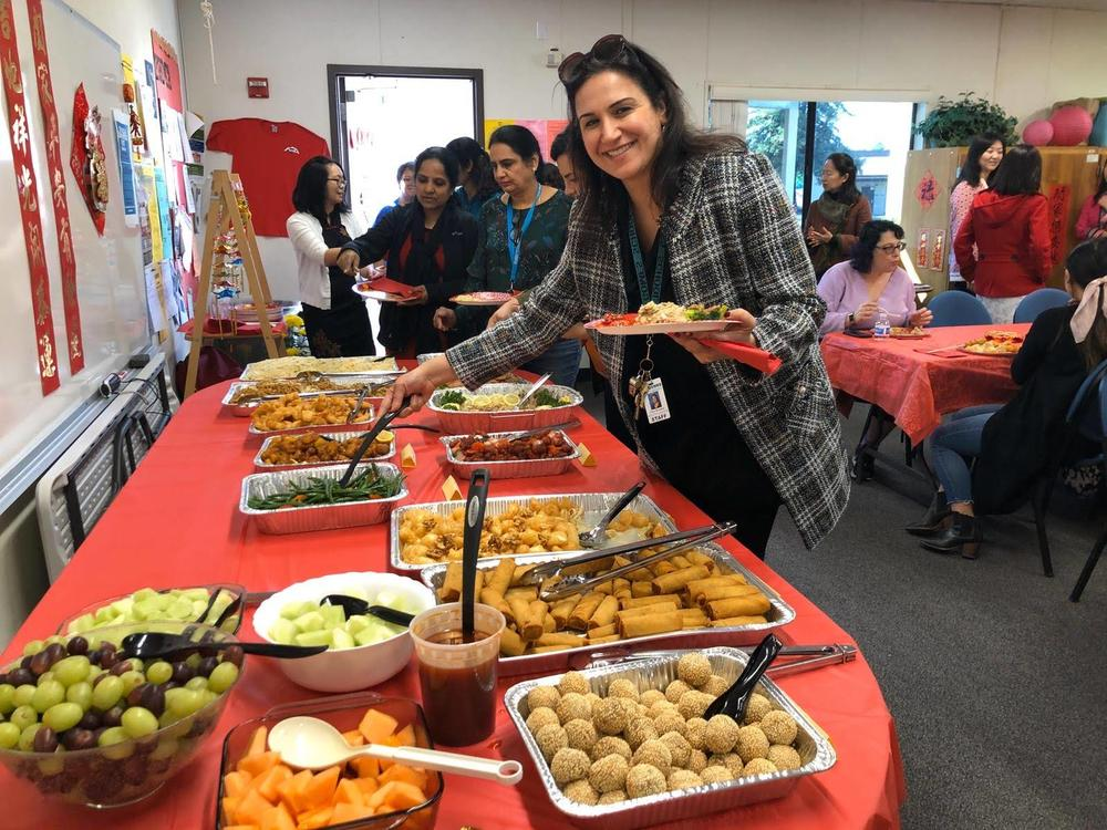 Gomes staff enjoy lunch courtesy of parent community in celebration of Lunar New Year.