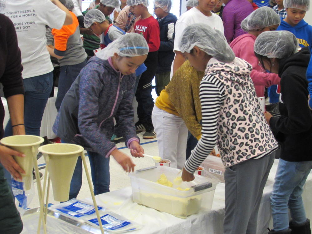 Chadbourne students pack meals for Kids Against Hunger.