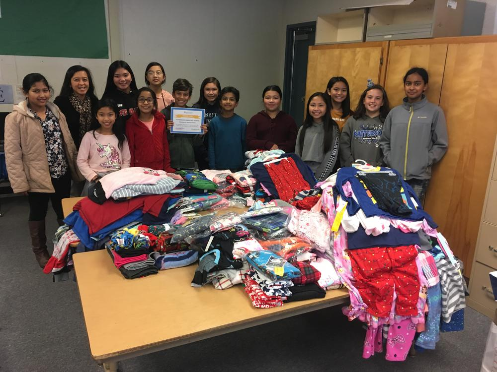 Patterson Community Service Project Team with donated pajamas.