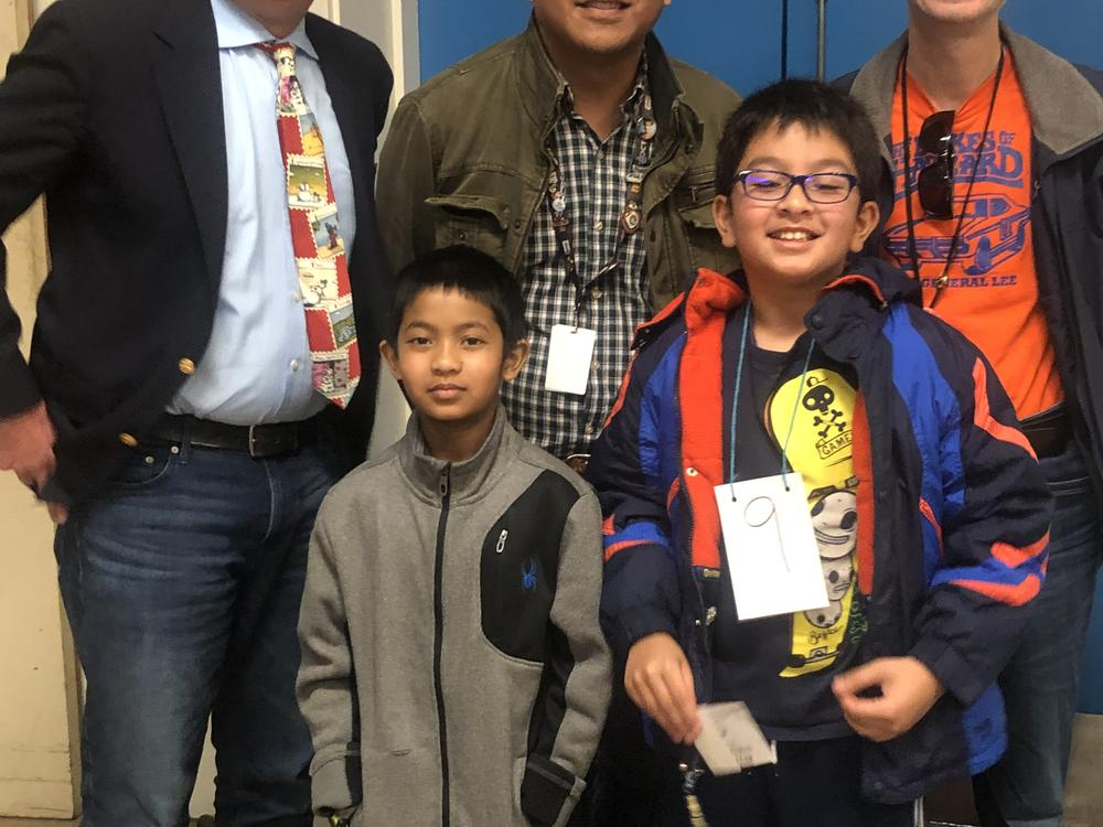 Mattos Elementary Spelling Bee Champs Harsevran and Alden.