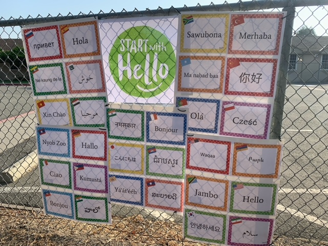 Leitch Elementary decorated for Start with Hello Week.