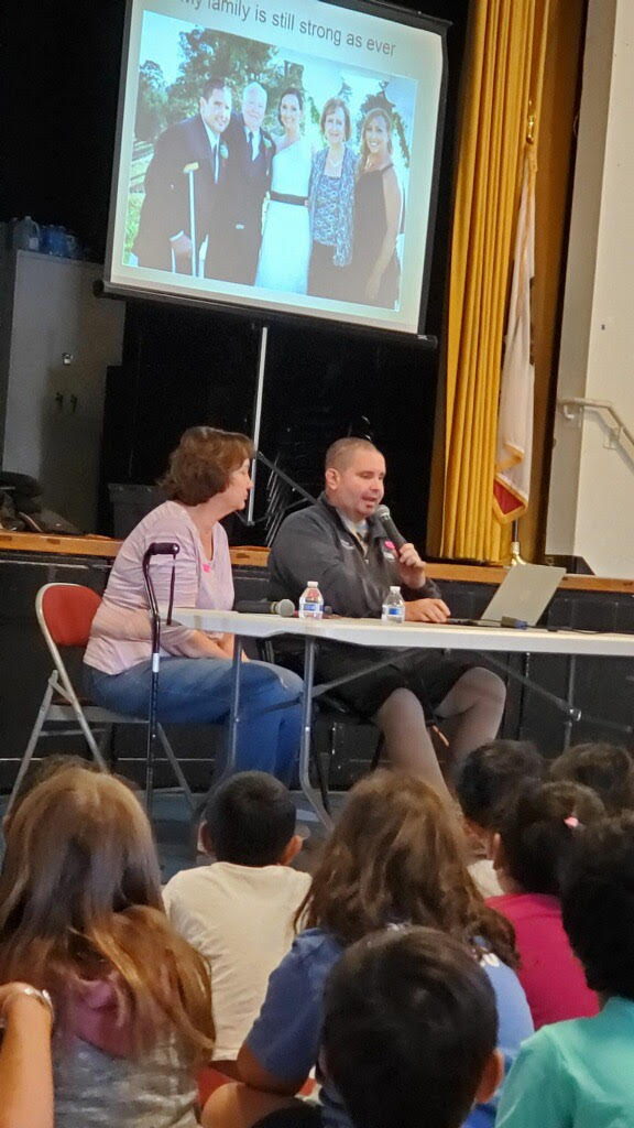 Bryan Stow speaks to students at Azevada Elementary.