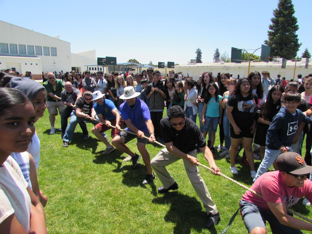 Centerville staff take on students in Tug of War.